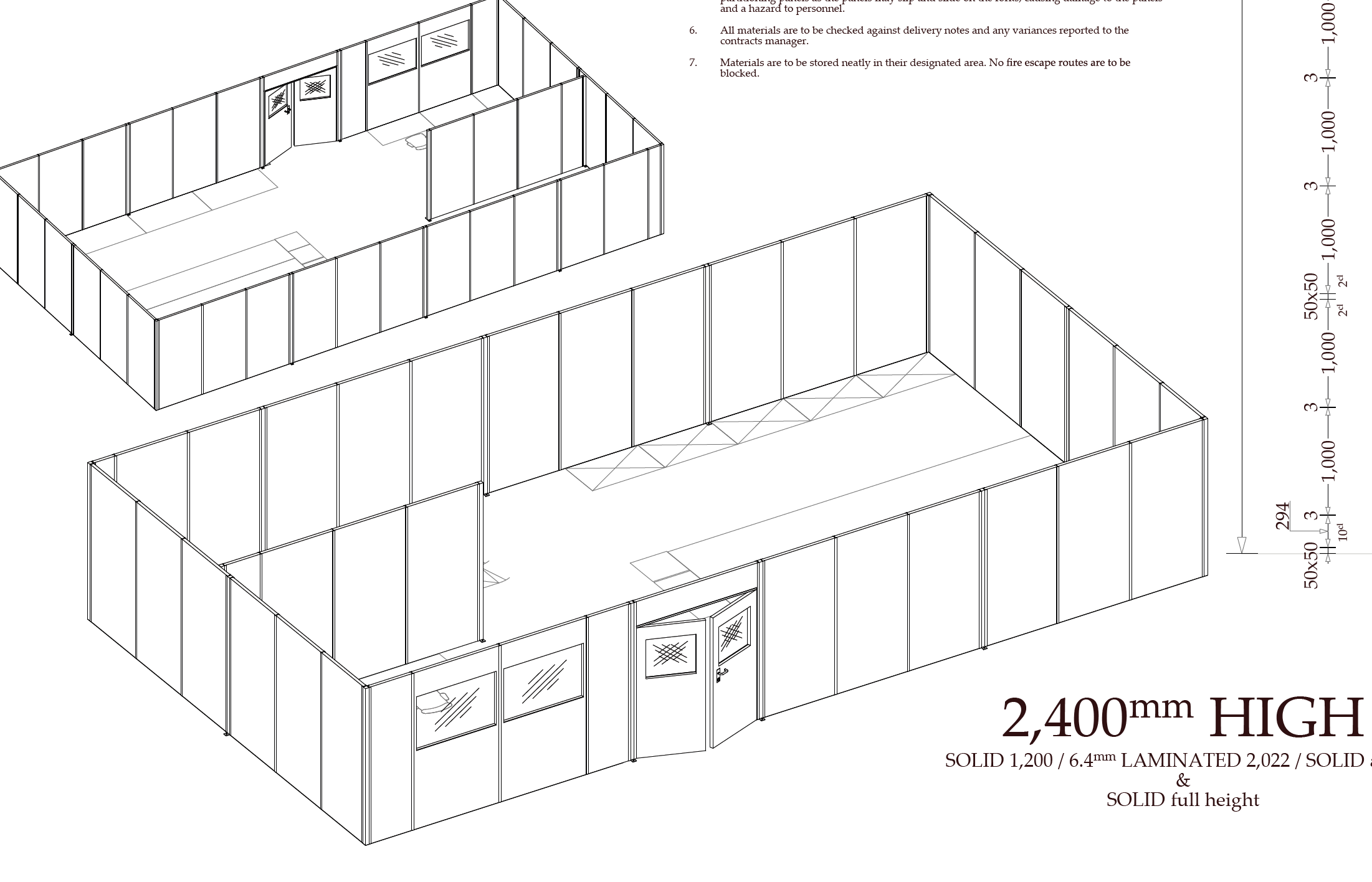 steel partitioning cad plan